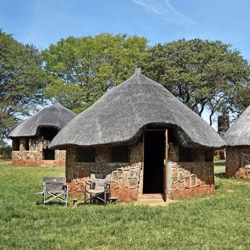 Imire Bushcamp Huts Outside