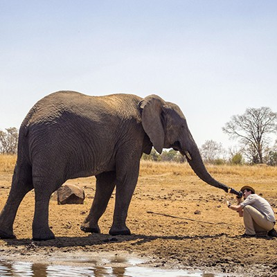 Volunteer in Africa Tomasz with Ele