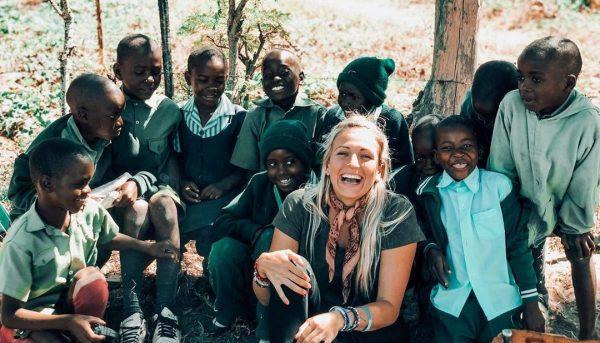 volunteer and school children, Imire